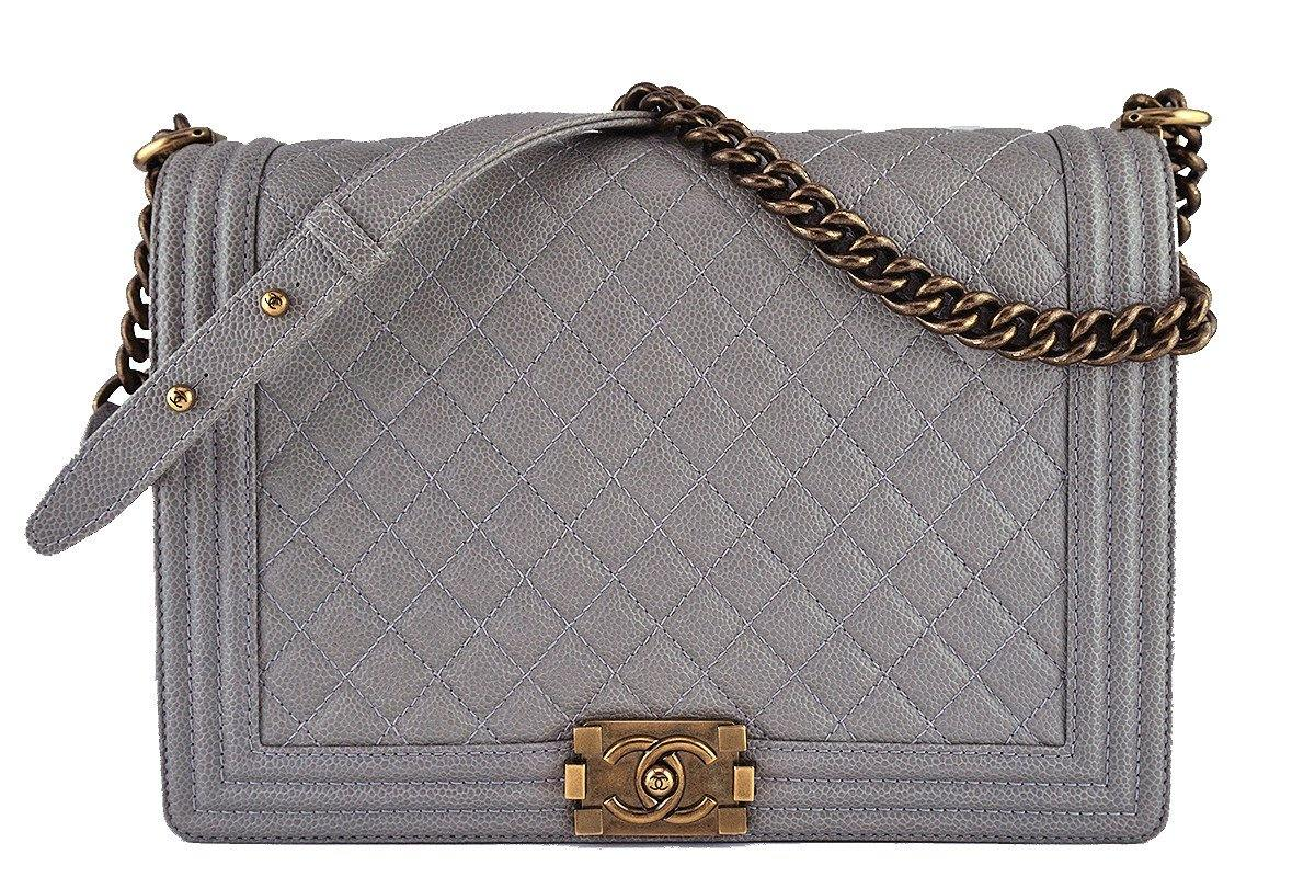 4b33114e6a8c Chanel Taupe Gray Caviar Large