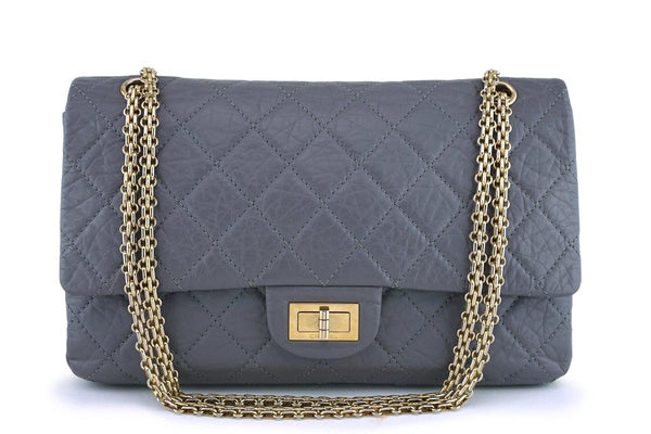 Chanel Gray Large 227 Classic 2.55 Reissue Flap Bag GHW