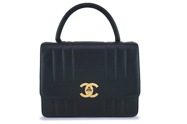 Chanel Vintage Black Caviar Jumbo Kelly Flap Bag 24k GHW