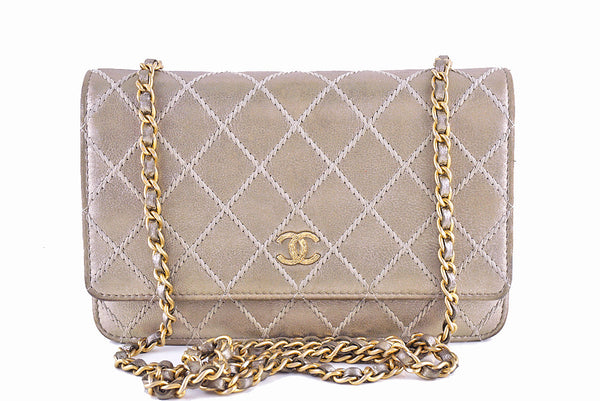 Chanel Pewter Gold Luxury Stitched Metallic WOC Wallet on Chain Bag