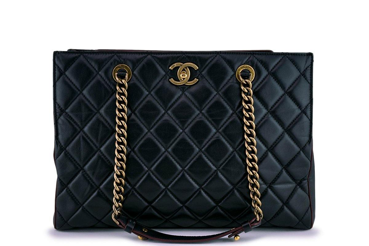 Chanel Black Classic Quilted Perfect Edge Shopper Tote Bag