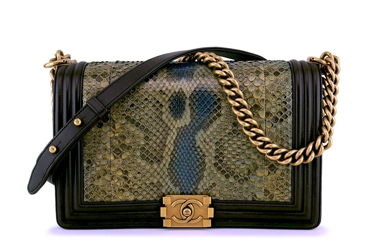 4f06ef2303c4 Chanel Python Olive Brown Exotic Classic Boy Flap Bag GHW