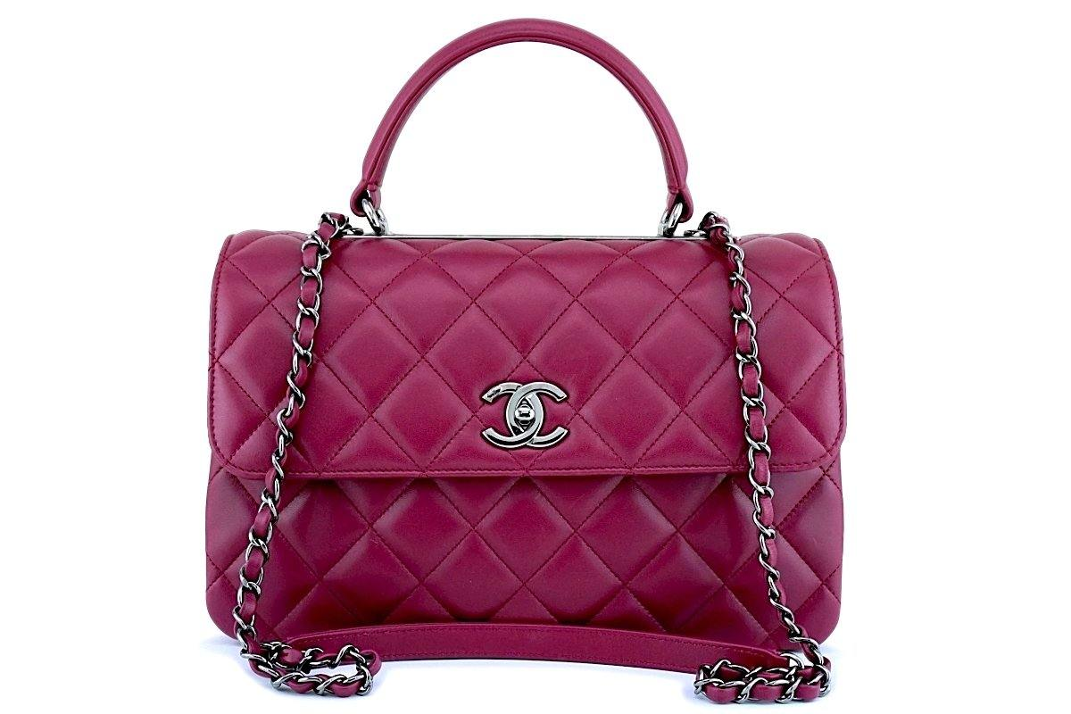 17K Chanel Dark Pink Medium-Large Trendy CC Classic Handle Kelly Flap Tote Bag