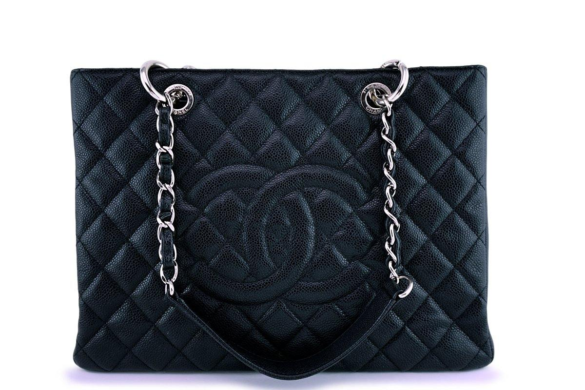 Chanel Black Caviar Classic Grand Shopper Tote GST Shopping Bag SHW
