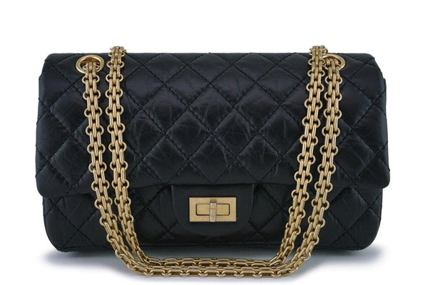 NIB Chanel Black 2.55 Small Classic Reissue 225 Double Flap Bag GHW