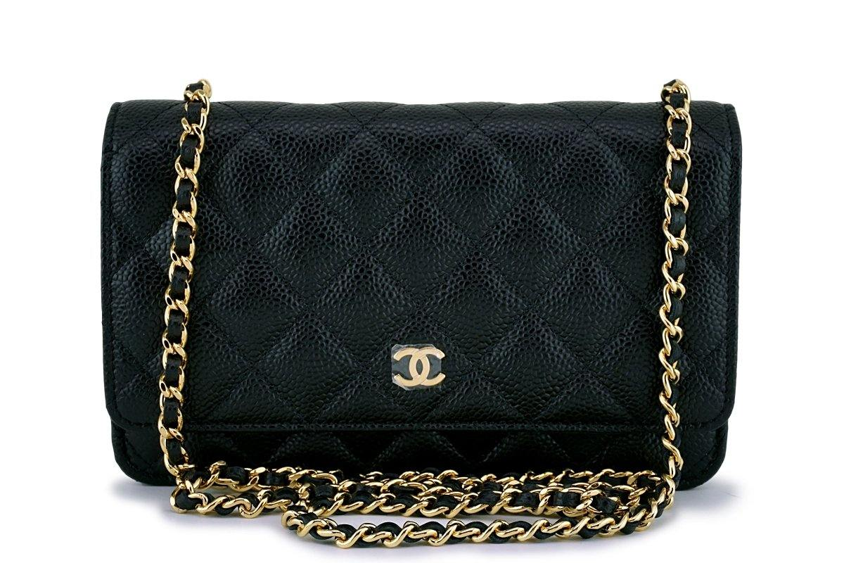 1f5948a33d53b7 New Chanel Black Caviar Classic Quilted WOC Wallet on Chain Flap Bag G