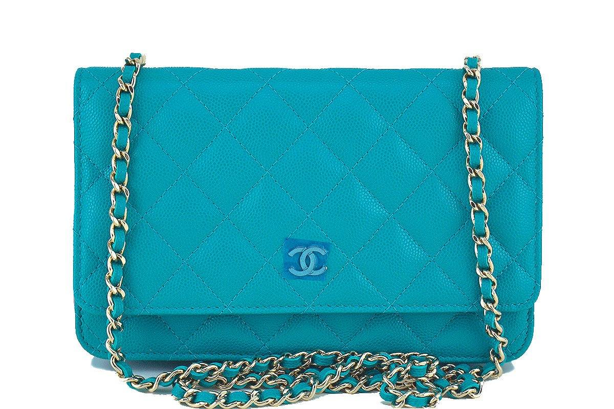 NWT 17C Chanel Turquoise Caviar Classic Quilted WOC Wallet on Chain Flap Bag
