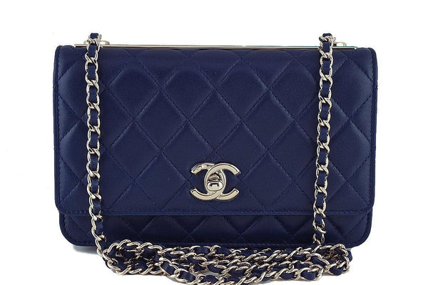 NWT 16K Chanel Blue Trendy CC Classic Wallet on Chain WOC Flap Bag Rare