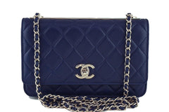 NWT 16K Chanel Blue Trendy CC Classic Wallet on Chain WOC Flap Bag Rare - Boutique Patina  - 1
