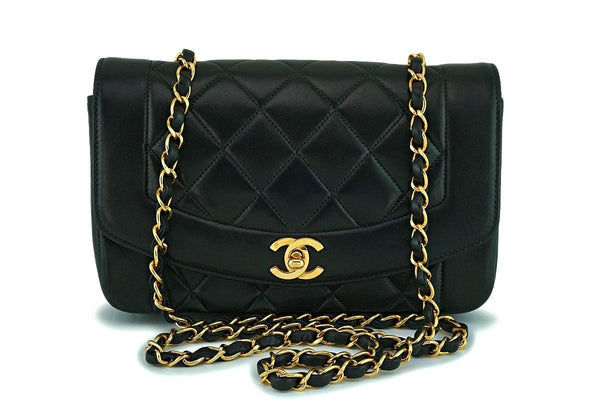 Chanel Vintage Black Small Classic Diana Flap Bag 24k GHW