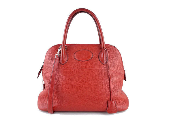 Hermes Vermillion Red 31cm Bolide Shoulder Tote Bag