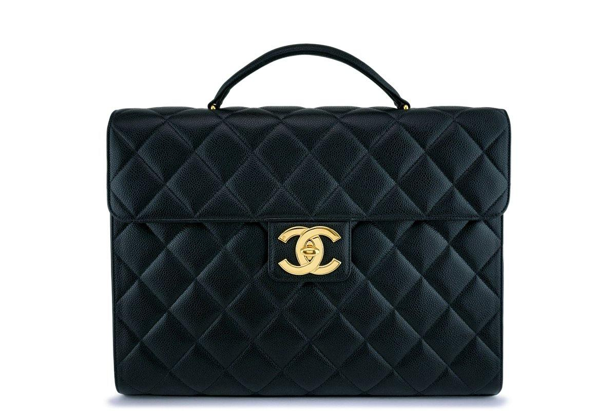 1a898c0b066126 Chanel Vintage Black Caviar Classic Briefcase Flap Tote Bag