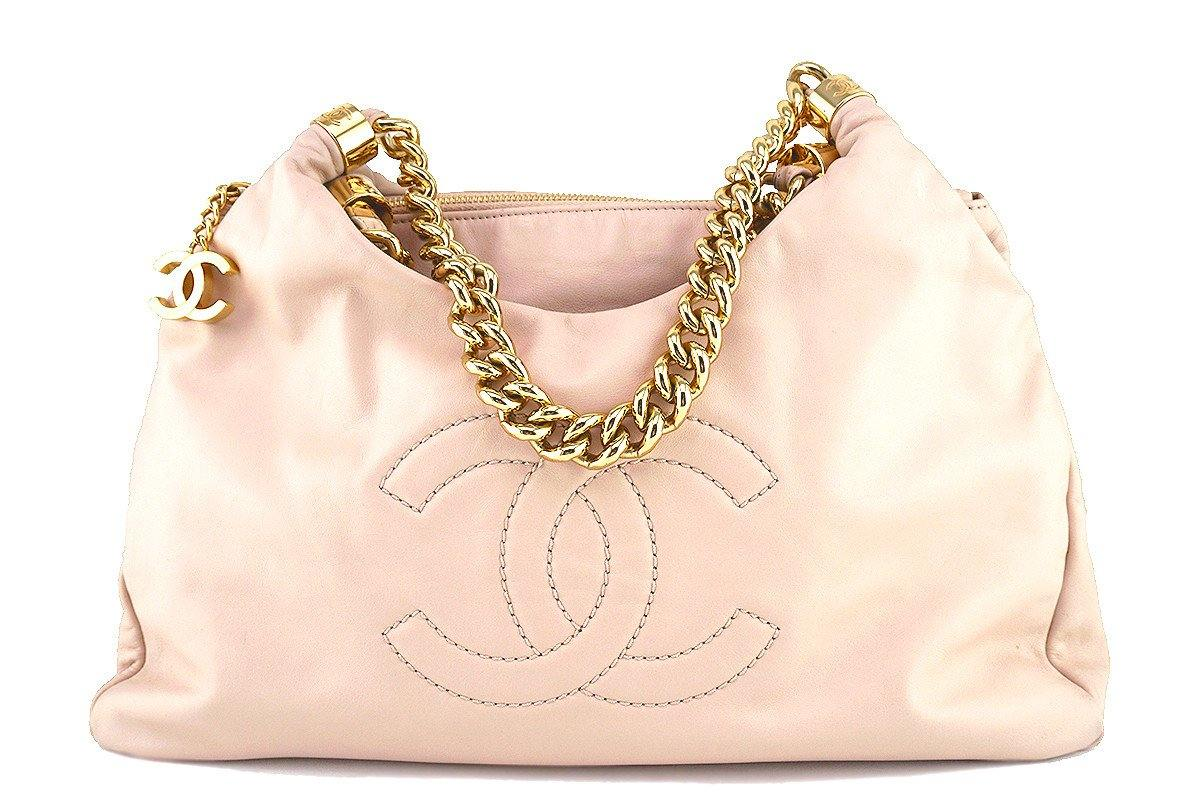 Chanel Beige Soft Chunky Chain Rodeo Drive Hobo Tote Bag
