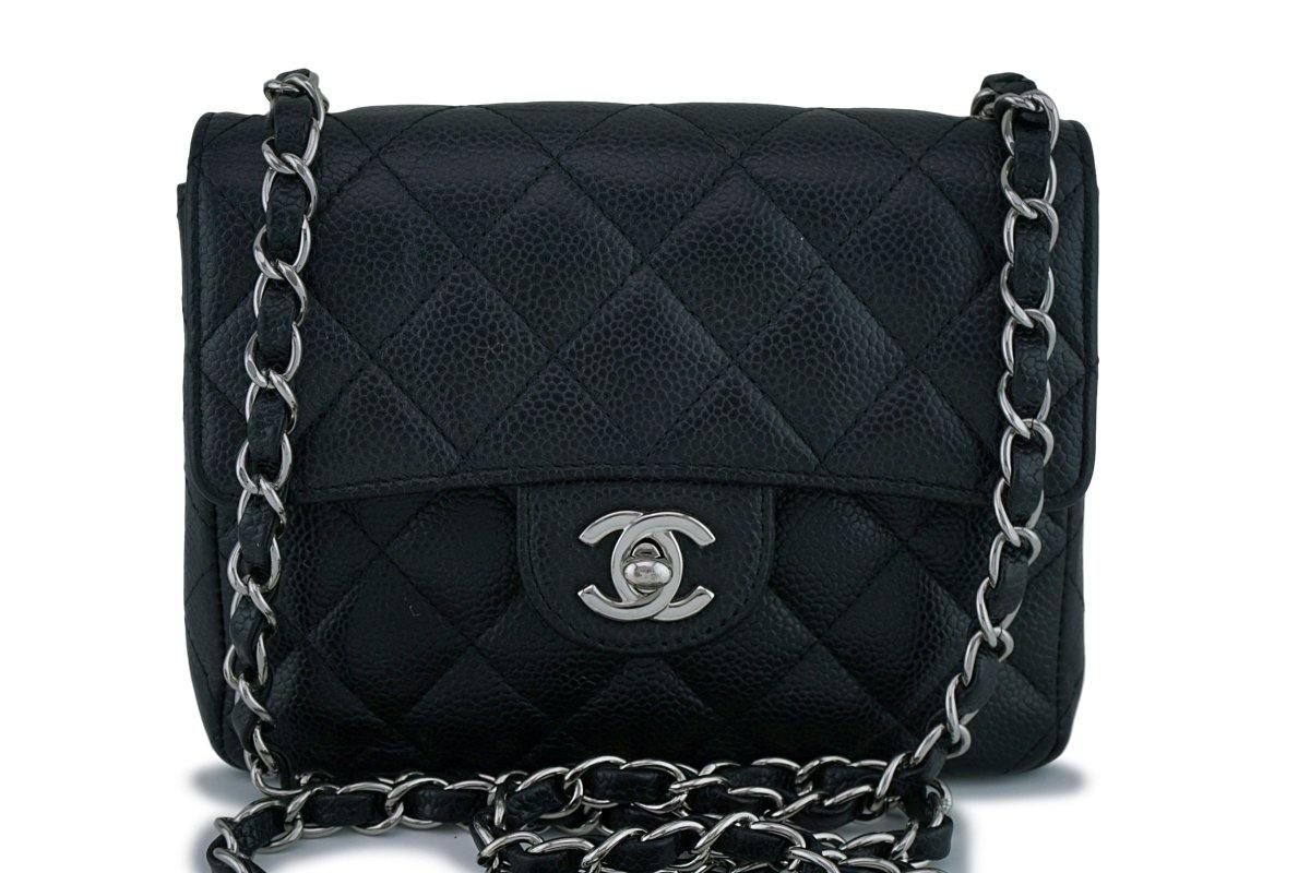 Chanel Black Classic Caviar Quilted Square Mini Flap Bag SHW