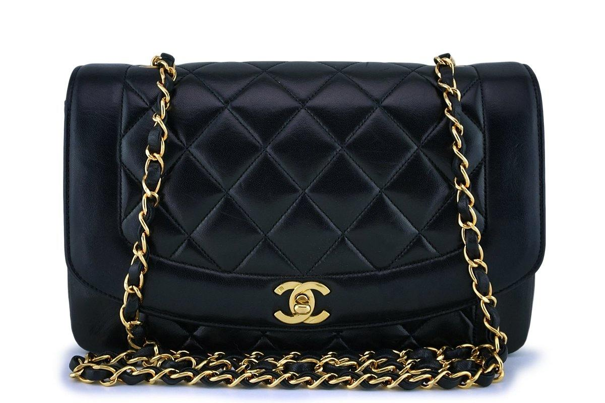 Chanel Vintage Black Medium Classic Diana Flap Bag 24k GHW - Boutique Patina
