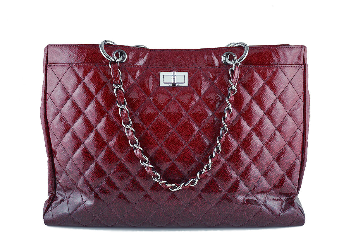 Chanel Red Ombre Patent Quilted Caviar Diamond Shine XL Shopper Tote Bag
