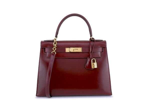 Hermes Vintage Rouge H 28cm Box calf Red Kelly Sellier Bag GHW