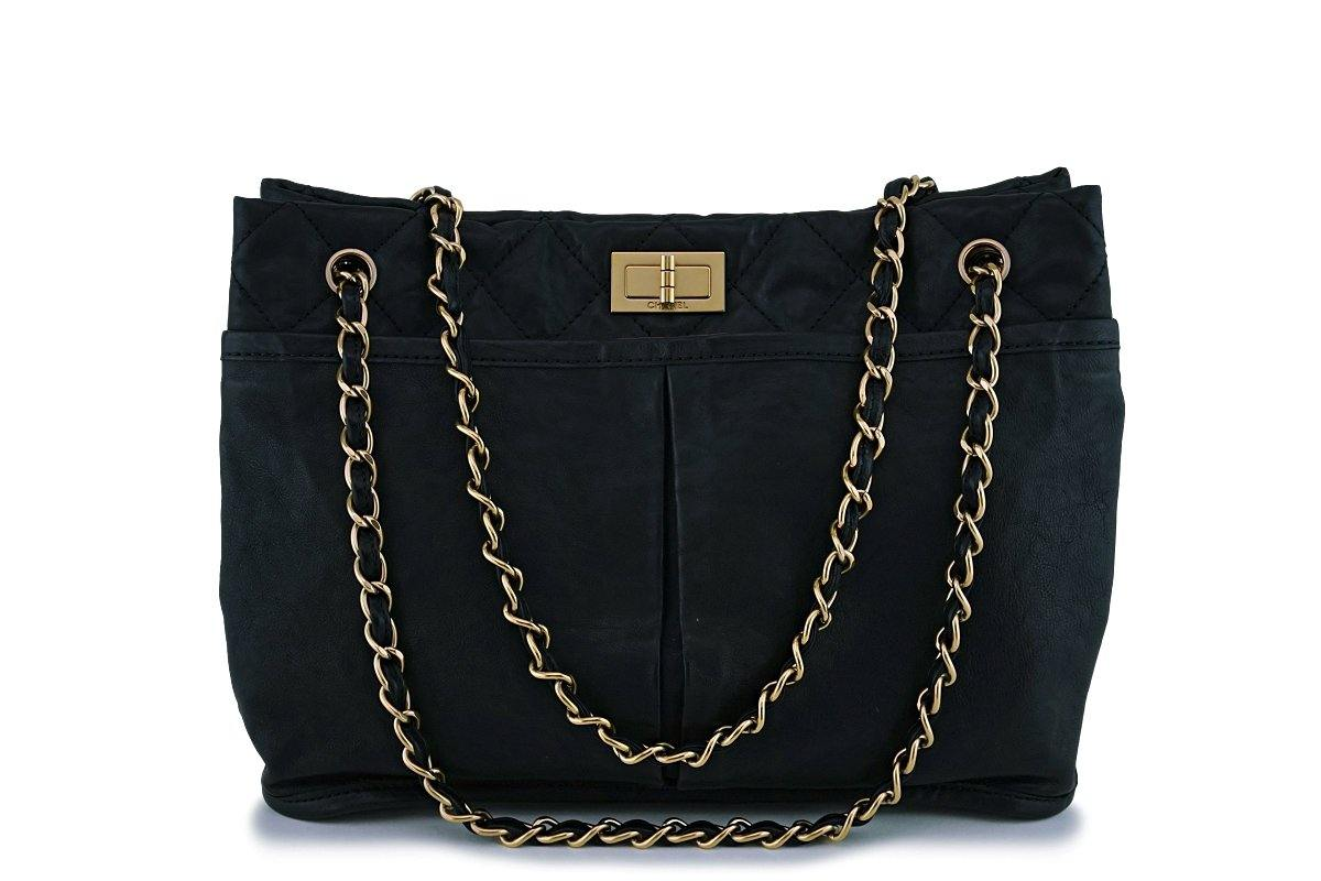 Chanel Black Washed Calfskin Pocket Reissue Tote Bag GHW