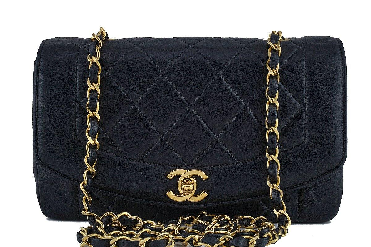 "Chanel Black Vintage Quilted Classic ""Diana"" Shoulder Flap Bag"