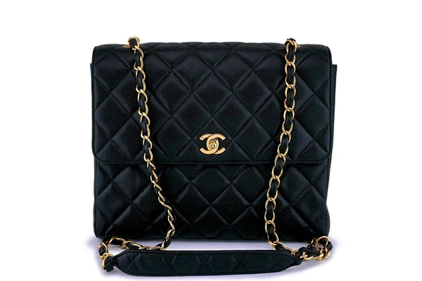 Chanel Vintage Caviar Classic Tall Medium Flap Bag 24k GHW