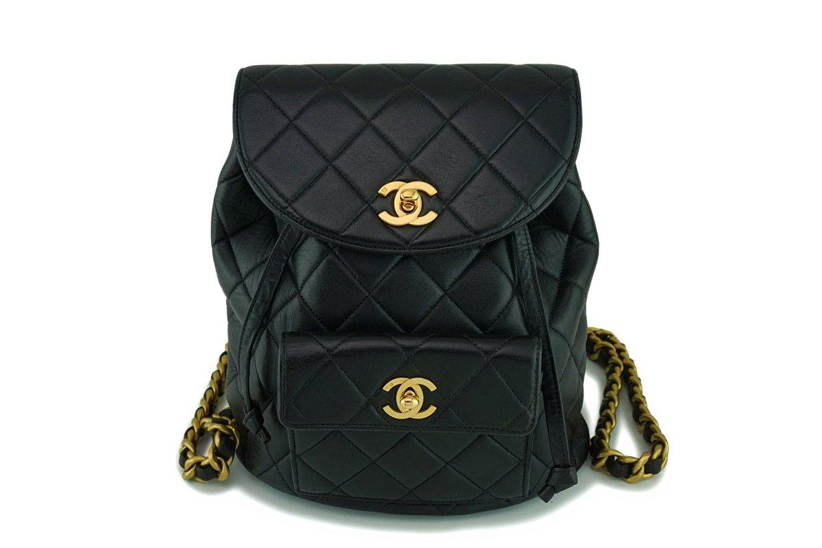 Chanel Vintage Black Lambskin Classic Quilted Backpack Bag 24k GHW