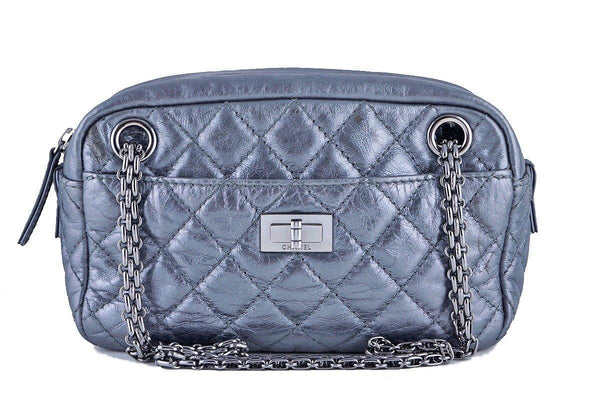 Chanel Silver Classic 2.55 Reissue Camera Case Bag