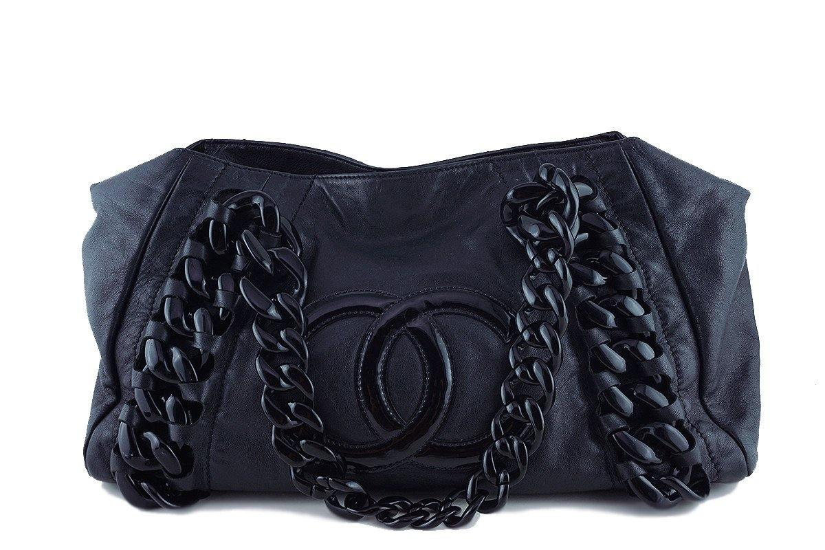 Chanel Black Large Luxury Modern Resin Chain Jumbo Tote Bag