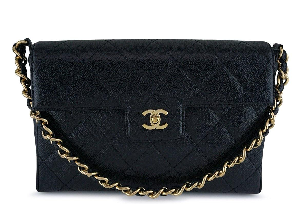 Chanel Black Caviar Jumbo Quilted Chunky Chain Flap Bag