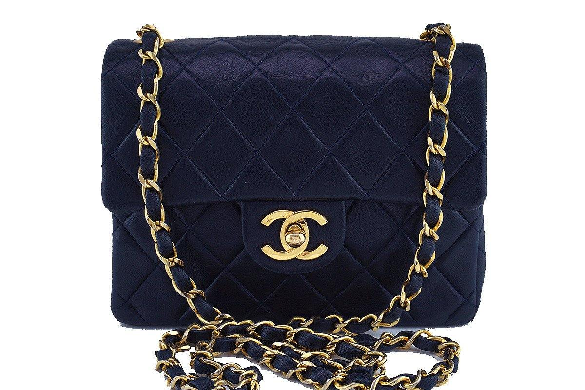 Chanel Navy Blue Classic Quilted Square Mini 2.55 Flap Bag