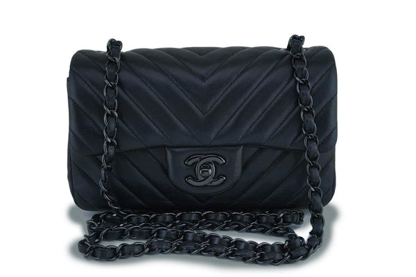 15S Chanel So Black Lambskin Chevron Rectangular Mini Flap Bag
