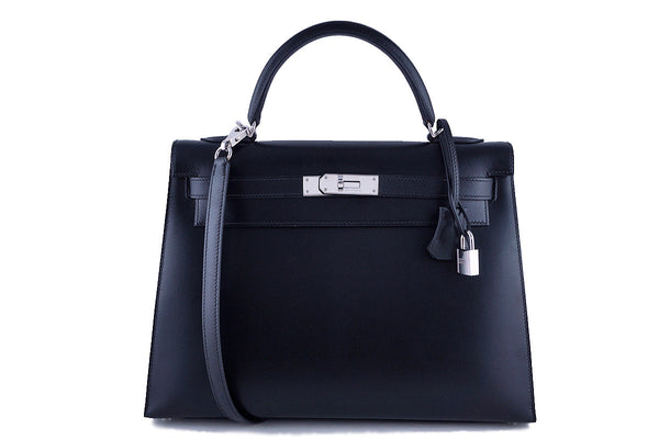 Hermes Black 32cm Box calf Kelly Sellier Bag PHW