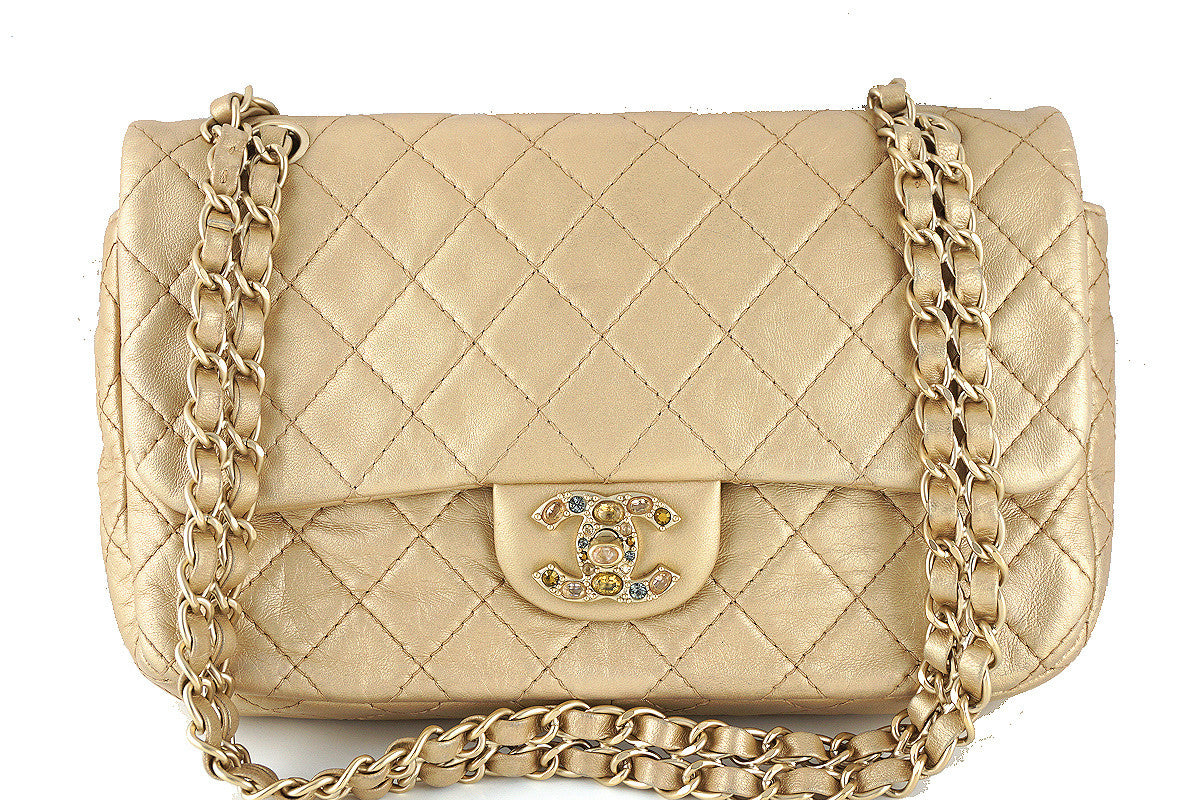 Chanel Rare Pearl Beige Gold Precious Jewel 2.55 Medium Flap Bag