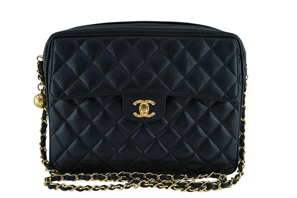 Chanel Vintage Caviar Classic Black Quilted Flap Camera Purse Bag