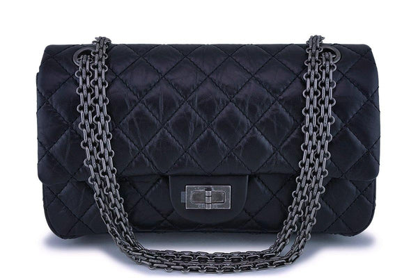NIB Chanel Black 2.55 Reissue Small/Medium 225 Classic Double Flap Bag RHW