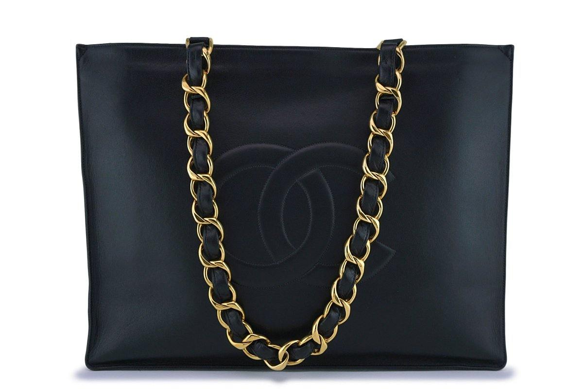 Chanel Black Vintage Grand Chunky Chain GST Shopper Tote Bag - Boutique Patina
