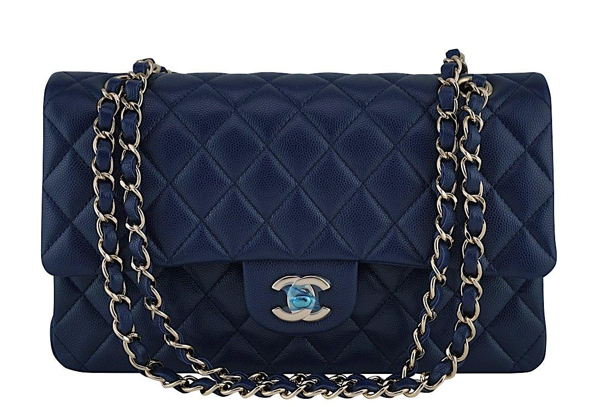 New 17B Chanel Navy Blue Caviar Medium Classic 2.55 Double Flap Bag - Boutique Patina