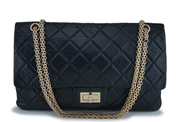 Chanel Black Large 227 Jumbo Reissue 2.55 Classic Double Flap Bag GHW