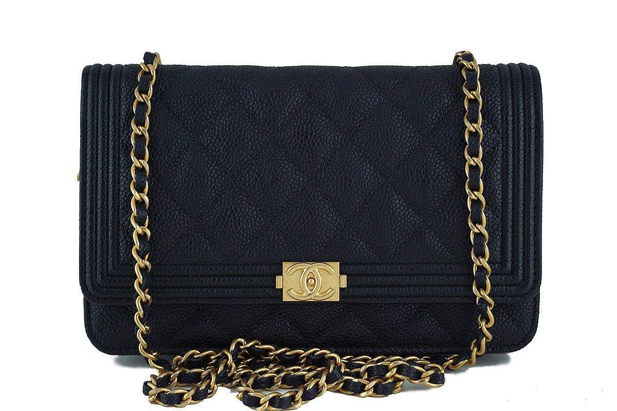 c986d3f261a453 NWT 17C Chanel Black Caviar Boy Classic Quilted WOC Wallet on Chain Fl