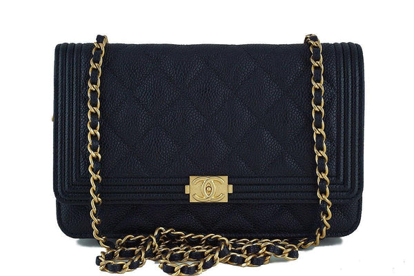 NWT 17C Chanel Black Caviar Boy Classic Quilted WOC Wallet on Chain Flap Bag
