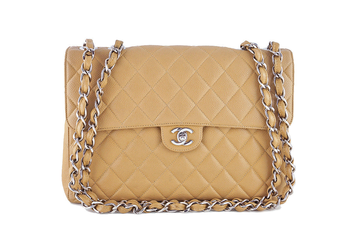 Chanel Camel Beige Caviar Jumbo Quilted Classic 2.55 Flap Bag - Boutique Patina  - 1