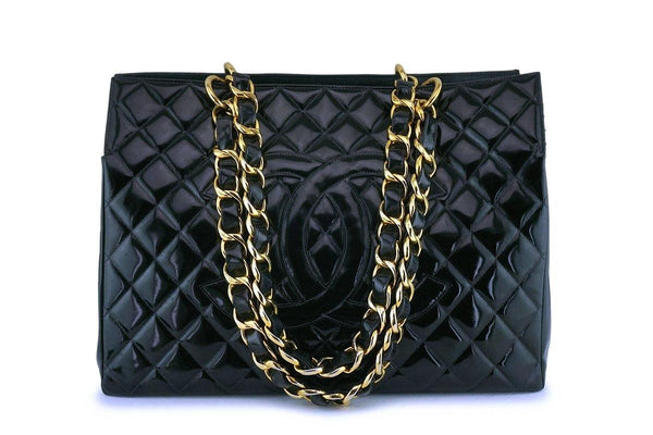Rare Chanel Black Vintage Patent Original Grand Shopper GST Tote Bag