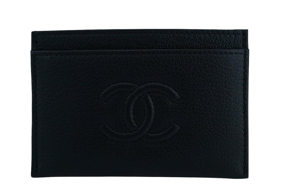 Chanel Black Logo Slim Card Holder Case Wallet Bag