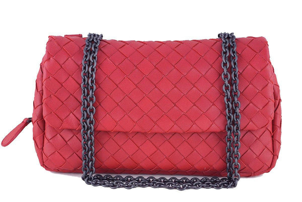 Bottega Veneta Red Messenger Bag Woven Lambskin Cross Body