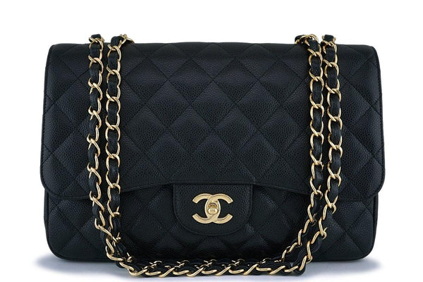 Chanel Black Caviar Jumbo Large Classic Flap Bag GHW