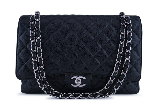 Chanel Black Caviar Maxi Quilted Classic 2.55 Jumbo XL Double Flap Bag SHW
