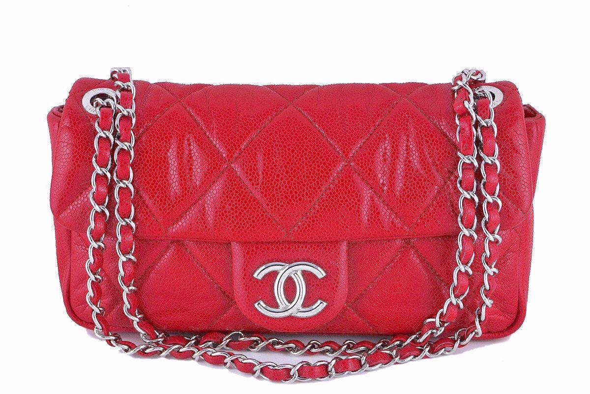 Chanel Red 10in. Soft Caviar Medium Quilted Classic Flap Bag