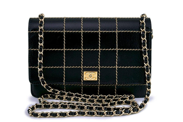 Chanel Black Contrast Stitch Classic WOC Wallet on Chain WOC Bag