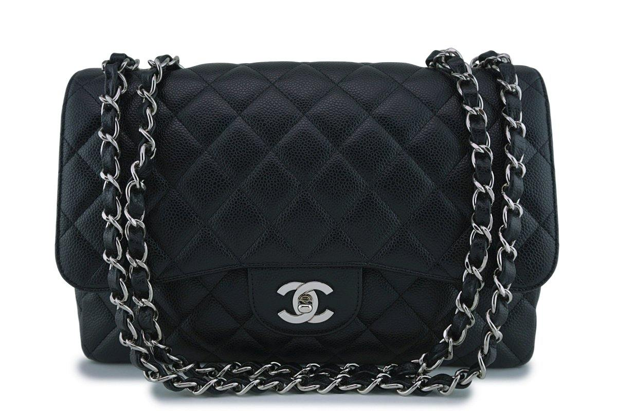 Chanel Black Caviar Jumbo 2.55 Classic Flap Bag SHW
