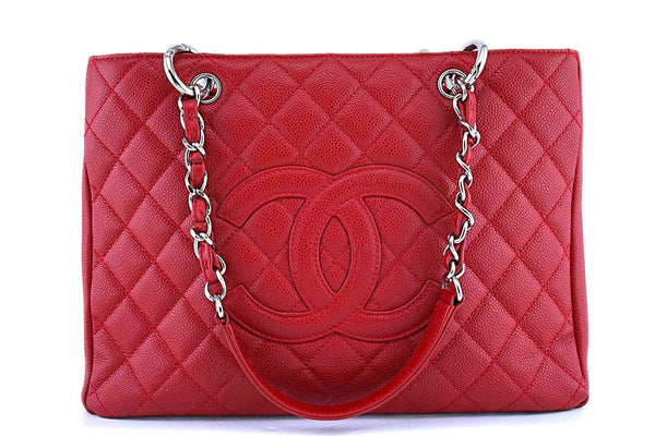 Chanel Red Caviar Timeless Classic Grand Shopper Tote GST Bag SHW