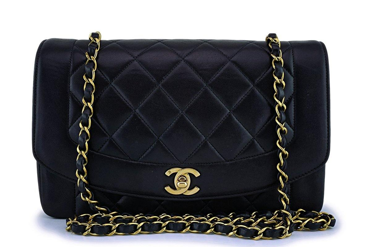 Chanel Black Vintage Lambskin Diana Medium Classic Flap Bag 24k GHW